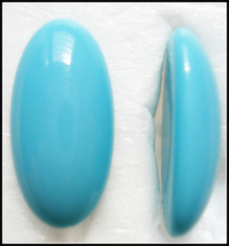 18X9MM (2195) GLASS TURQUOISE OVAL CABOCHONS