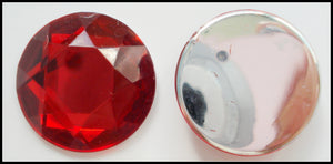 18MM ACRYLIC RUBY COLOR ROSE CUT ROUNDS