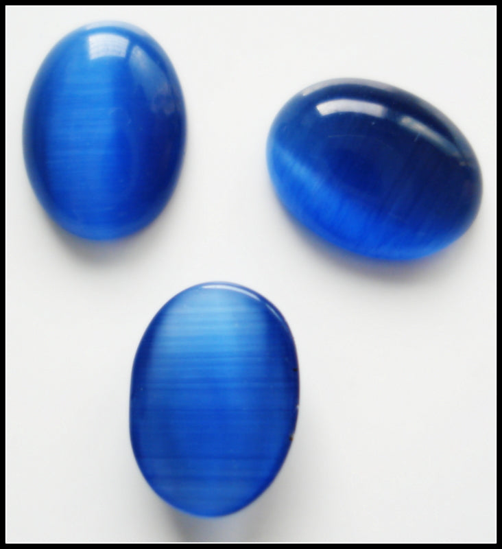 8X6MM (1685) CAT'S EYE ROYAL BLUE OVAL CABS