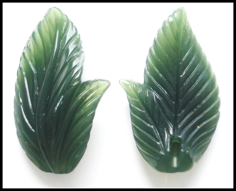 19x12MM ACRYLIC GREEN CURVY LEAVES