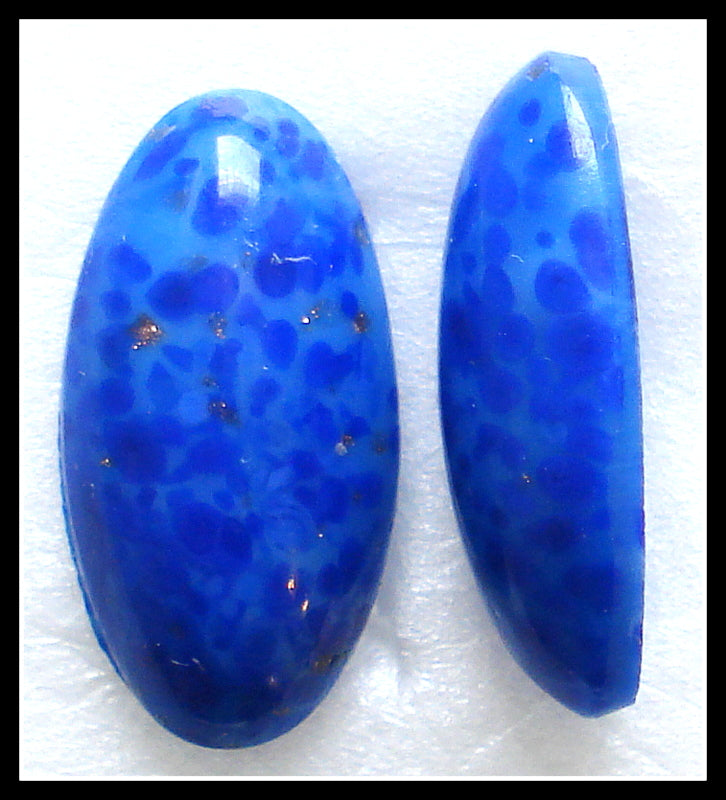 18X9MM (1685) GLASS LAPIS MATRIX OVAL CABS