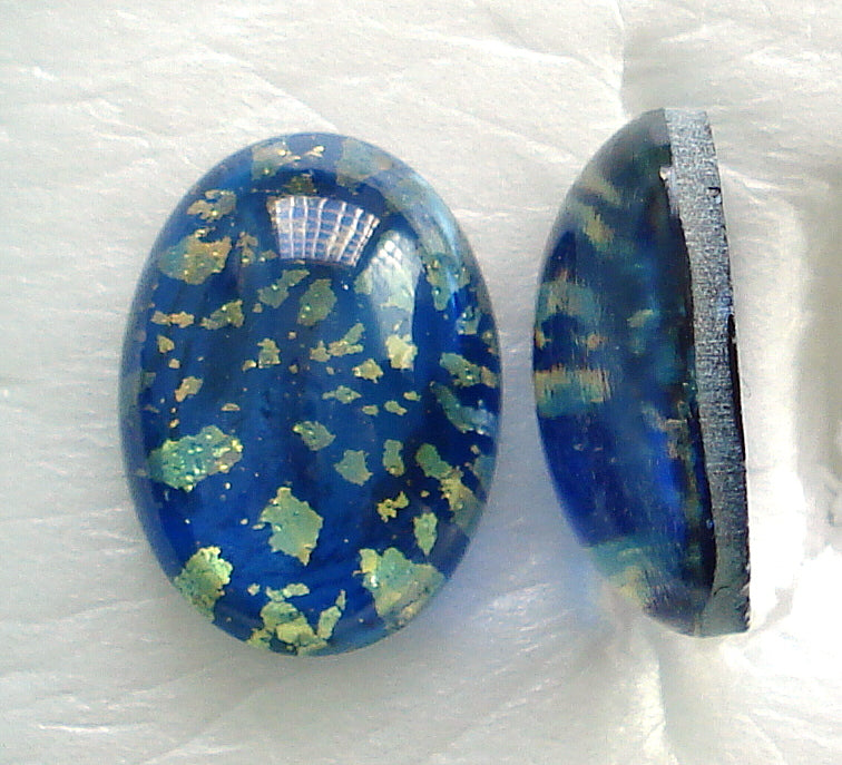 18X13MM (1685) BLUE GREEN GLASS OPAL CABOCHONS