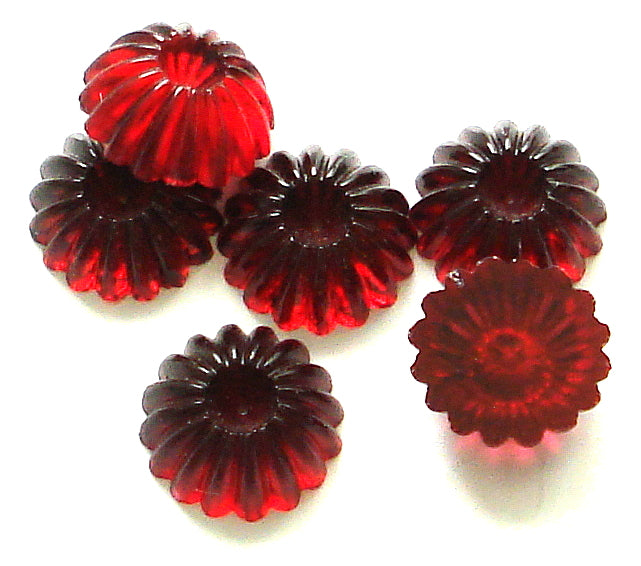 9MM FLUTED SIAM RED CABOCHONS