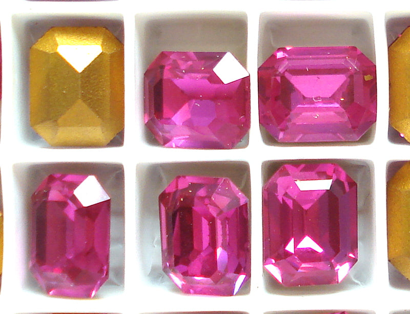 10X8MM (4610) STEP CUT FUCHSIA CUSHION OCTAGONS