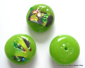 9.5MM GLASS APPLE GREEN BUTTON TOP FRUIT SALAD