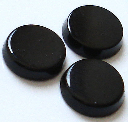 9mm Natural Black Onyx Round Buff Top