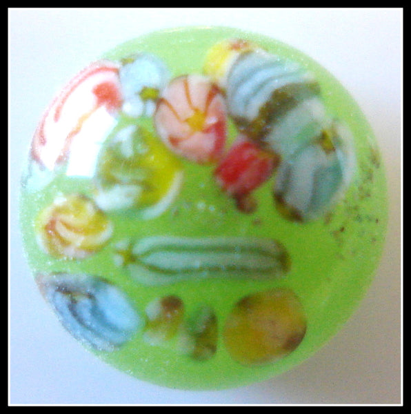 8mm (2175) Apple Green Floral Round Button Top