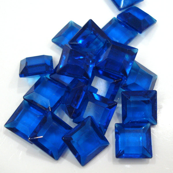 8mm (4404/2) Capri Blue Channel Cut Square Unfoiled