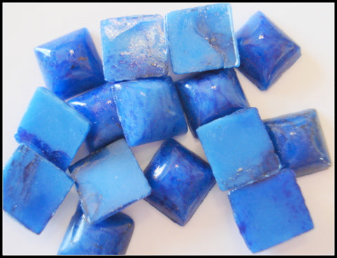8mm (2400) Glass Lapis Square Flat Back