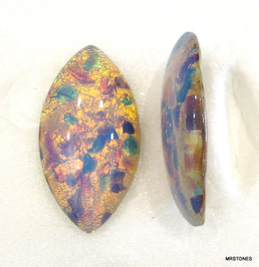 32x17mm (3175) Glass Fire Opal Marquise Navette Cabochon