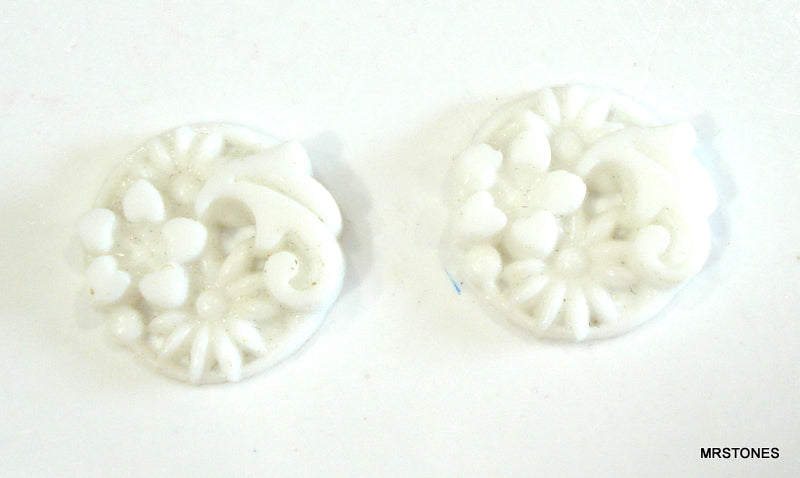 16mm Glass Round White Molded Flower