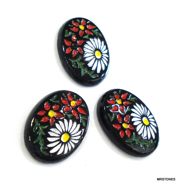 18x13mm (VFP) Glass Black Oval Enamel Red White Floral Flower