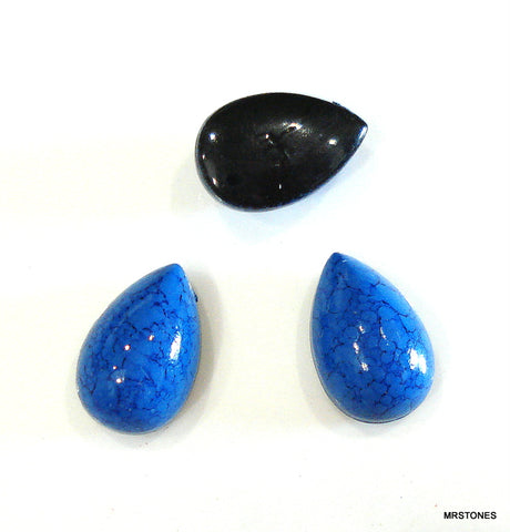 10x6mm (KCBP) Acrylic Lapis Matrix Pear Cabochon
