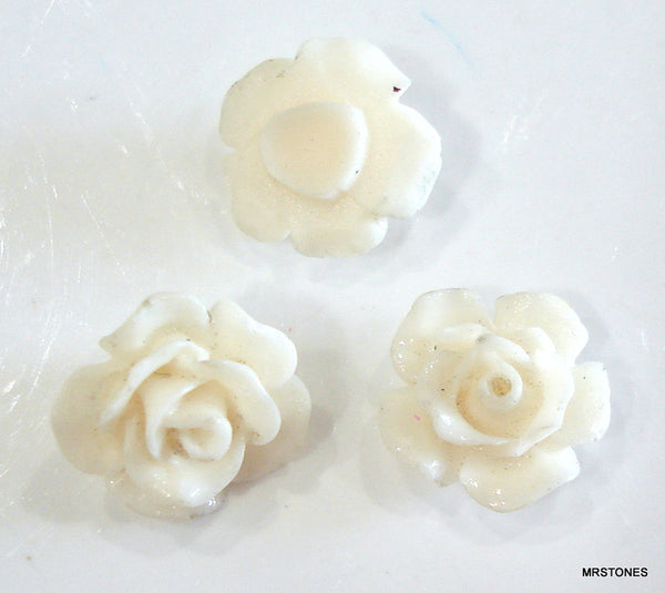 9mm (2269) Flower Ivory Color Celluloid Plastic Back Plug Post