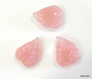 7x6mm Czech Glass Pink Moonstone Leaves