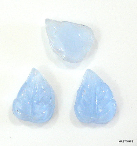 7x6mm Czech Glass Blue Moonstone Leaves