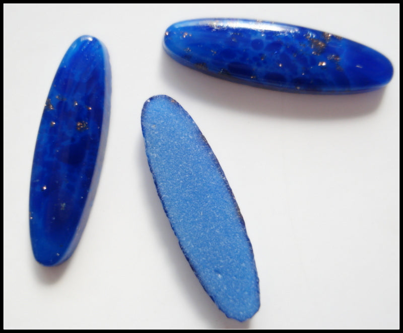 14x4mm (2195) Glass Lapis Oval Cabochon