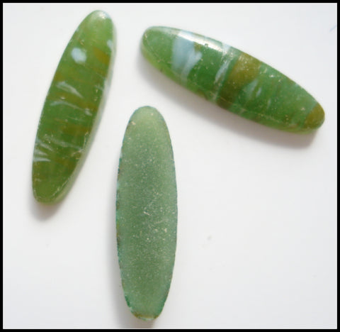 14x4mm (2195) Glass Low Dome Jade Matrix Oval Cabochon