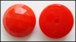 14mm (2030) Cherry Red Faceted Button Top Glass Cabochons