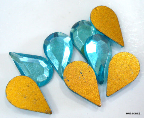 13x7.8mm (2300/2) Aqua Flat Back Pear Shape