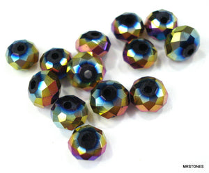 6mm Glass Iridescent Faceted Beads 100 pc Lot