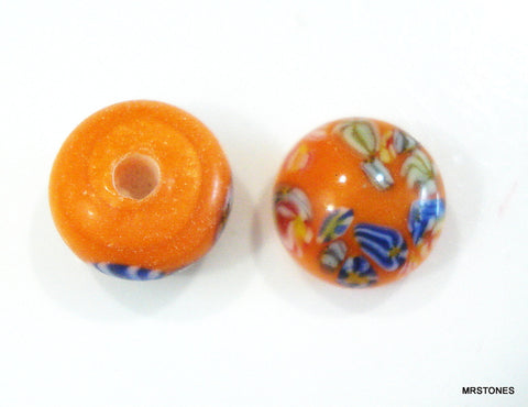 7.5mm (2175) Opaque Orange Painted Floral Glass Button Top