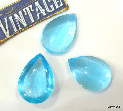 18x13mm (3331) Aqua Unfoiled Pear Pendaloque Shape Bombe Cabochon
