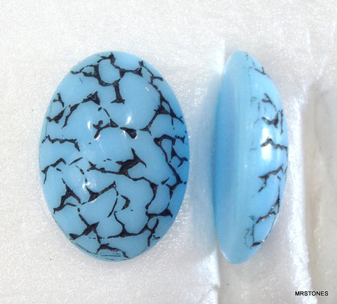 18x13mm (1685) Turquoise Blue Black Matrix Oval Specialty Cabochon