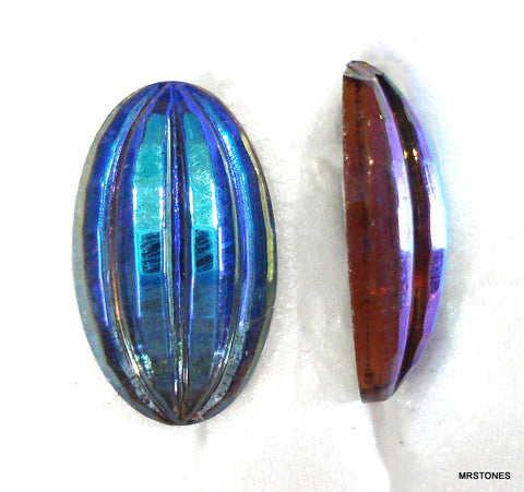 15x9mm (01018) Montana AB Oval Ribbed Cabochon