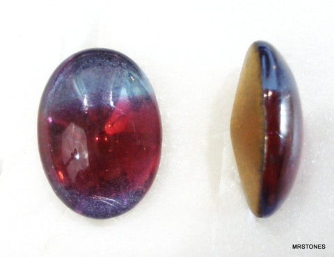18x13mm (3188) Bi Color Light Sapphire Ruby Oval Buff Top Doublet