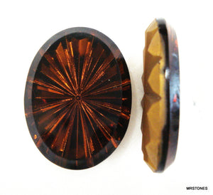 40x30mm (4199) Smoked Topaz Sun Ray Oval Shape Specialty