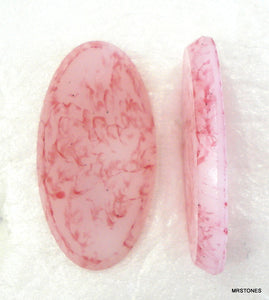 25x14mm (2195) Pink Matrix Low Dome Oval Cabochon