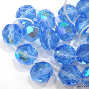 8mm Light Sapphire AB Glass Faceted Bead