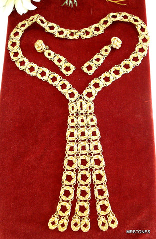 Monet Set Runway Gold Tone Circle Rope Dangle Design Book Piece 1972 Bouclais