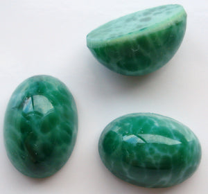 14x10mm (1685) Glass Chinese Jade High Dome Oval Cabochon