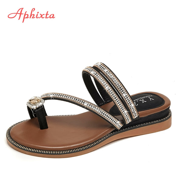 Aphixta Wedges Sandals Women Rhinestones Female Flip Flops Summer Modis Leather Crystal Slippers Ladies Babouche Bling Shoes