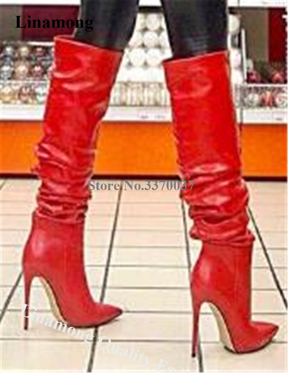 Linamong Women Sexy Pointed Toe Stiletto Heel Knee High Boots Red Blue Leather Slip-On Long High Heel Boots Dress Shoes Boots