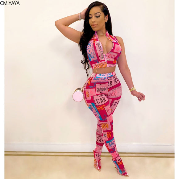 2020 Women Sets Summer Tracksuits Fitness Letter Print Tops+Pants Suit Two Piece Set Sexy Street Outfits 2 Pcs Street GL9300