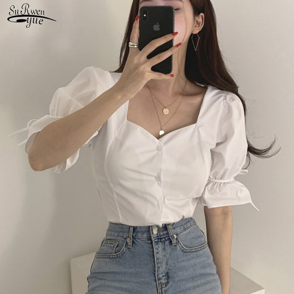 2020 New Summer Lace Up Sexy Blouse Women Solid v Neck Puff Sleeve Ladies Shirts Casual Cotton Button Cardigan Women Tops 10152
