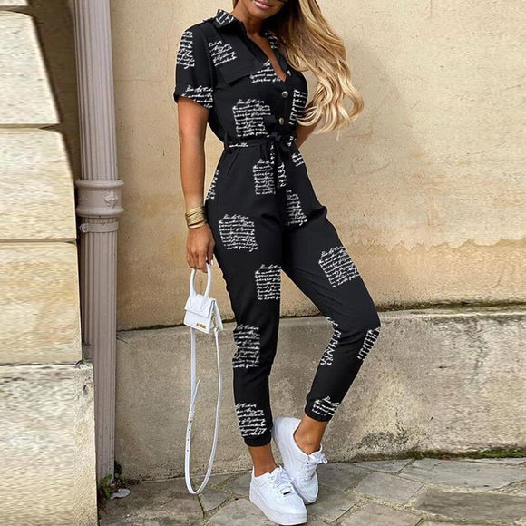 Fashion Elegant Letter Print Jumpsuit Women Summer Deep v Neck Button Shirt Overalls Short Sleeve Office Lady One Piece Romper