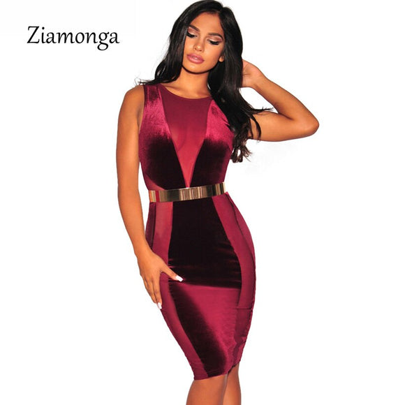 New Fashion Bandage Dress M L Women Sexy Mesh Patchwork O-Neck Bodyocn Midi Dress Casual Velvet Dress