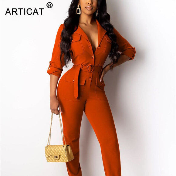 Articat Vintage Rompers Womens Jumpsuit 2020 Long Sleeve Buttons Skinny Autumn Jumpsuits Casual Slim Playsuit Overalls With Belt