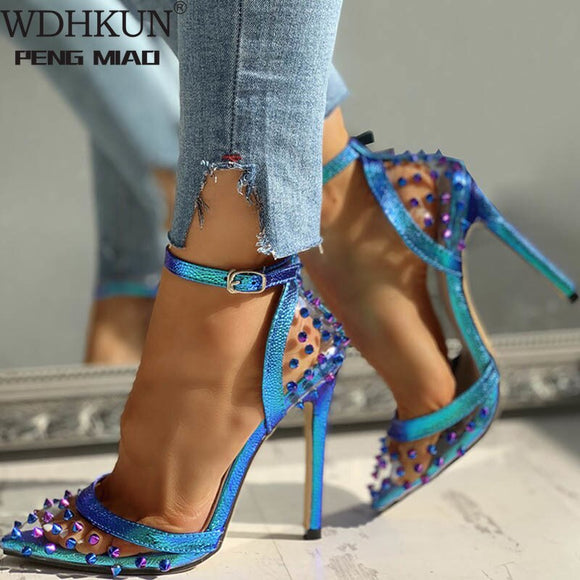 2020 New Sexy PVC Rivet Women Pumps Fashion Shoes Female Ankle Buckle Strap Ladies Party High Heels Shoes