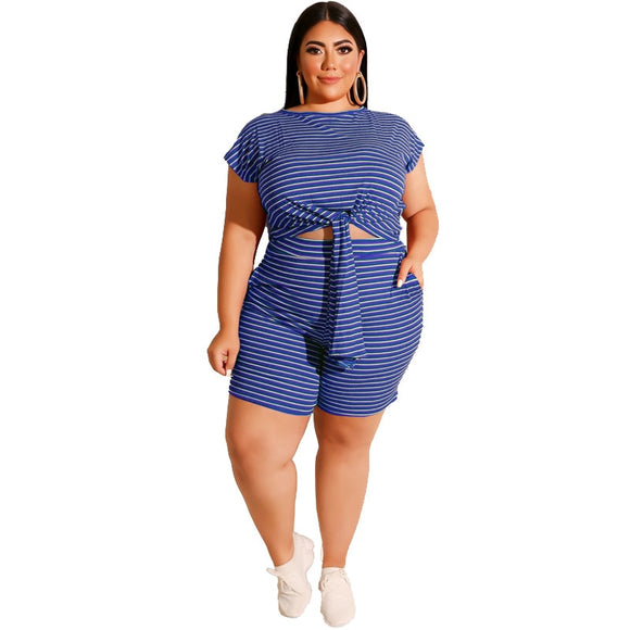 Plus Size Two Piece Sets Women Summer 2020 Casual Plus Size Outfits Striped Top and Short Set Oversized Sets 3XL 4XL 5XL XXXXXL
