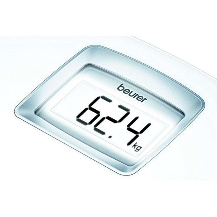 Wellnostics - Beurer PS25 Luxury White Acrylic Bathroom Scales with XXL Backlit LCD Display