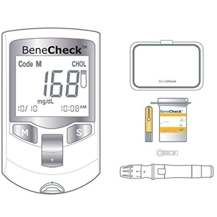 Wellnostics - BeneCheck Plus 3in1 Cholesterol Monitor with Case, Lancets/Pen, and 10 Cholesterol Strips