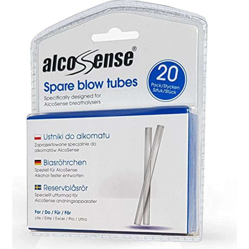 AlcoSense Breathalyser Blow Tubes (Pack of 20) - Suitable for the Lite, Elite, Excel, Pro and Ultra Breathalyzer .