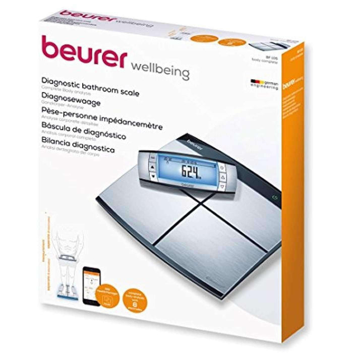 Wellnostics - Beurer BF105 Body Complete Diagnostic Scales with 8 Electrodes for Whole Body Analysis and Health Manager App