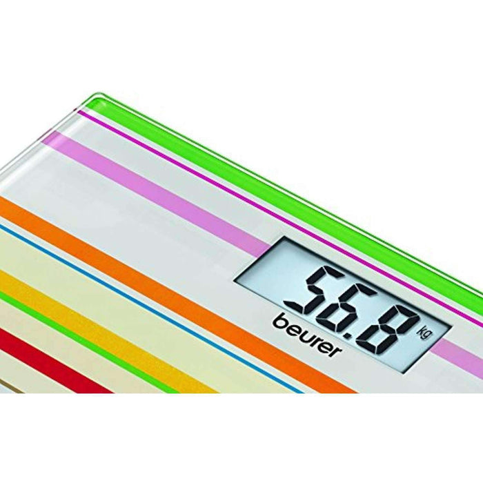 Wellnostics - Beurer GS27 Happy Stripes Designer Glass Bathroom Scale