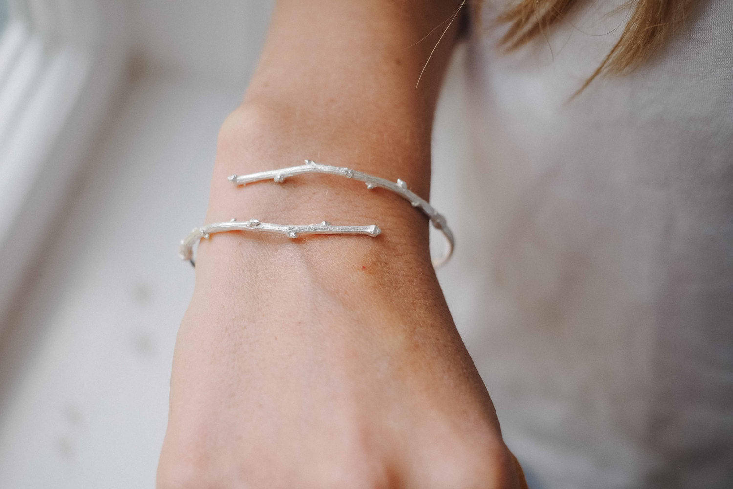 Twig Cuff in Solid Sterling Silver or Brass